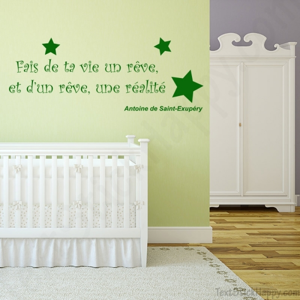 Stickers d co mur peint citation c l bre antoine de for Stickers phrase chambre bebe