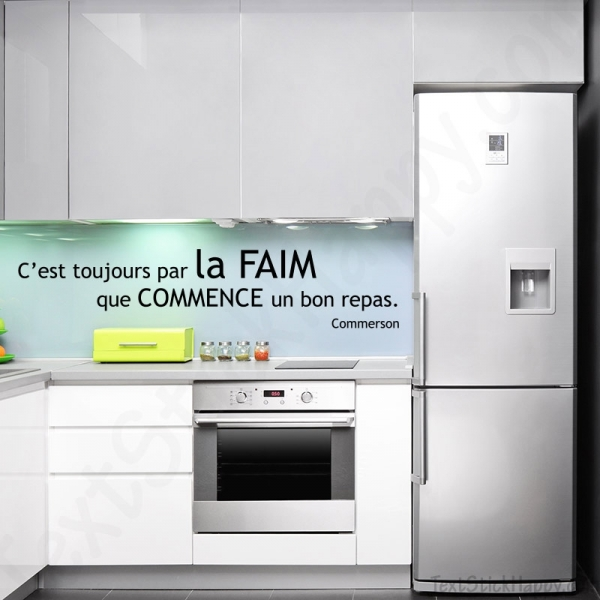 stickers d co cuisine citation c l bre autocollante sur la faim. Black Bedroom Furniture Sets. Home Design Ideas