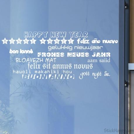 Stickers bonne ann e en plusieurs langues - Bonne annee dans toutes les langues ...