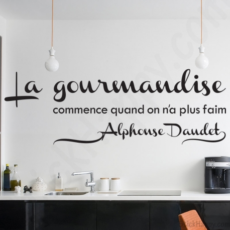 stickers d co cuisine citation c l bre sur la gourmandise. Black Bedroom Furniture Sets. Home Design Ideas